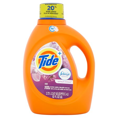 Tide Plus Febreze Freshness Spring And Renewal Scent He Turbo Clean Liquid Laundry Detergent  48 Loads 92 Oz