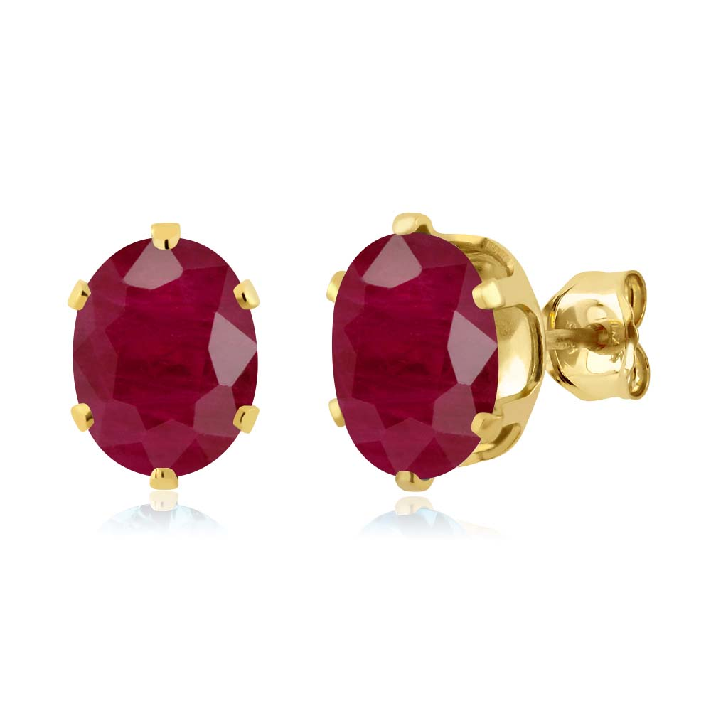 3.78 Ct Oval 8x6mm Red Ruby 925 Yellow Gold Plated Silver Stud Earrings