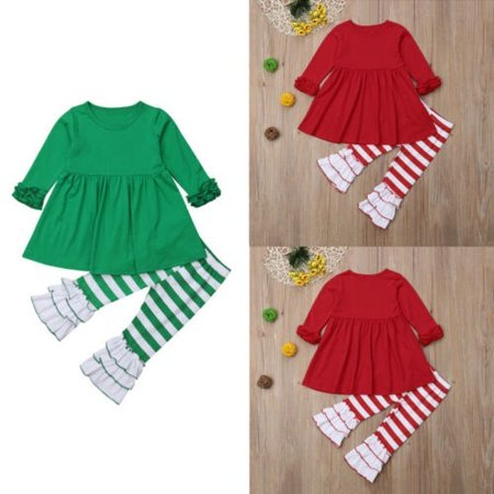New Kids Girl Christmas Ruffles Irregular Mini Dress Tops Stripe Ruched Pant Elf Outfit Clothes Set ()