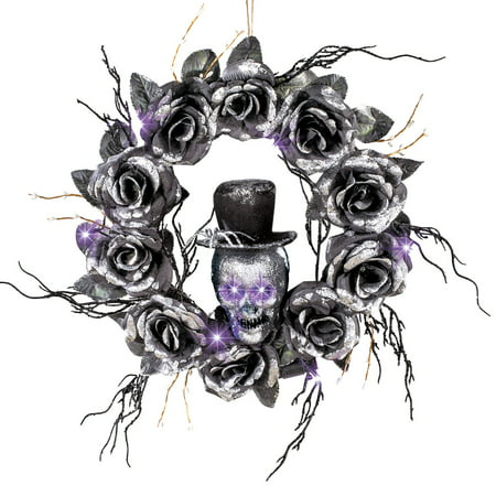 Lighted Skull Halloween Wreath with Black Roses and Twigs, Outdoor and Indoor Décor (Halloween Outdoor)