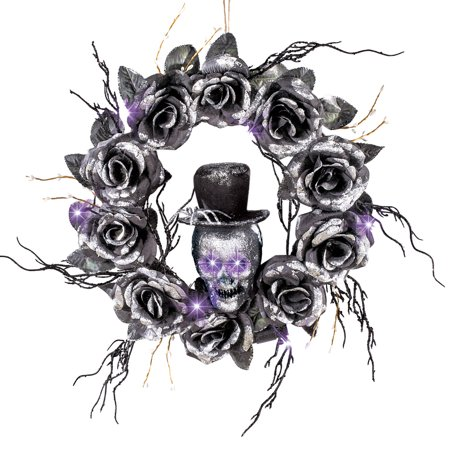 Lighted Skull Halloween Wreath with Black Roses and Twigs, Outdoor and Indoor Décor - Halloween Wreath Bows
