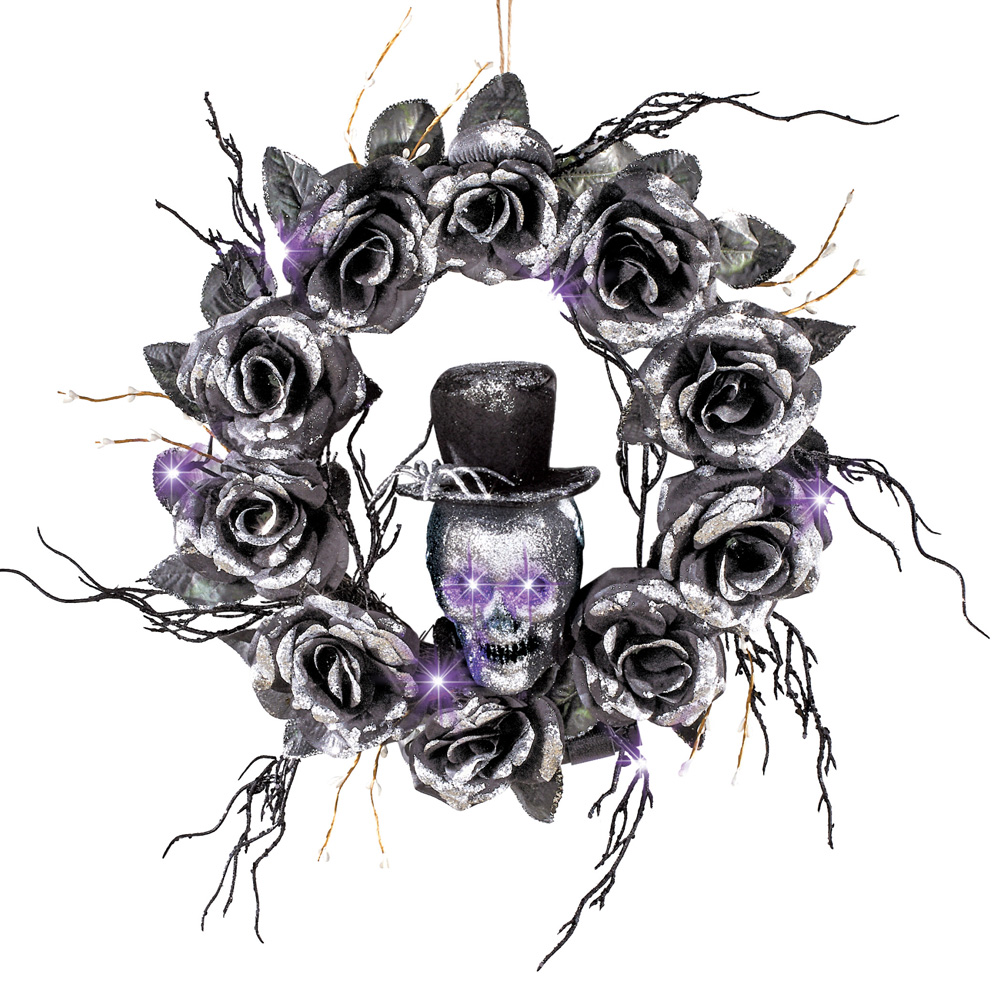 Lighted Skull Halloween Wreath with Black Roses and Twigs, Outdoor and Indoor Décor
