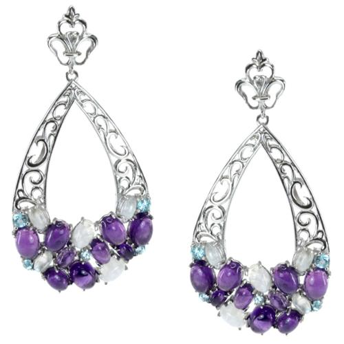 Dallas Prince  African Amethyst, Moonstone and Swiss Blue Topaz Drop Earrings