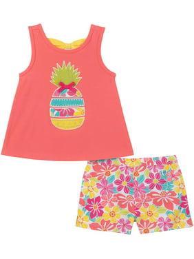 Kids Headquarters Baby Girls Pineapple Top & Shorts Set