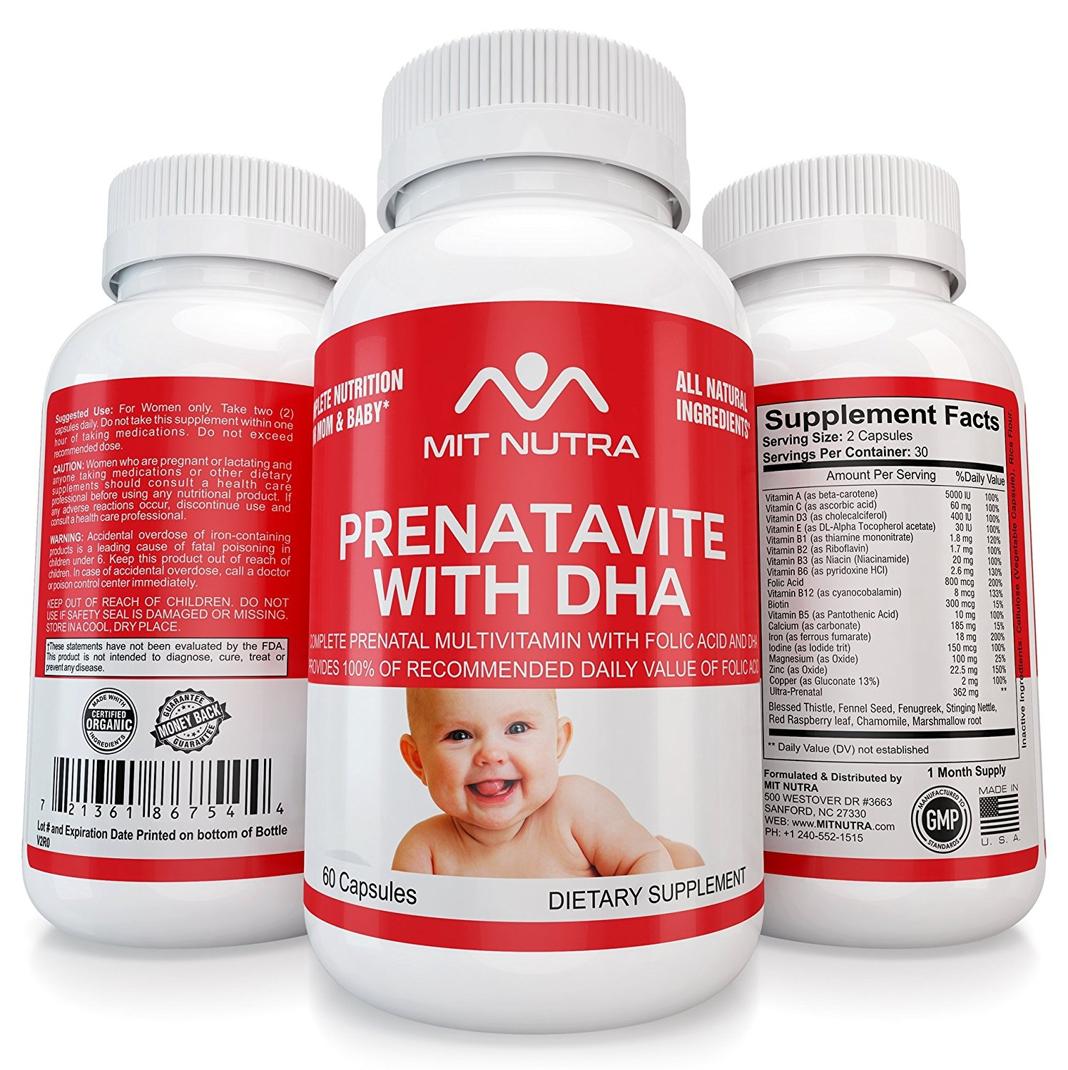 Organic Prenatal Multivitamins With Folic Acid and Full Spectrum of Daily Vitamins - Great for Expecting and Post Pregnancy by MIT NUTRA