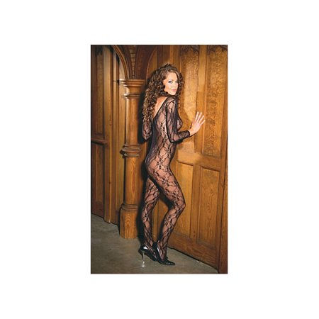 Lace Sexy Crotchless Bodystocking - Elegant Moments Sexy Deep V Lace Body Stocking 1619 Black