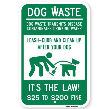 Highway Construction Signs - Dog Waste Transmits Disease $25 to $200 Fine Sign 12