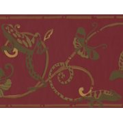 Wallpaper Border - Sage Green Lizard Butterfly on Damask Vines Maroon Cherry Red Wall Border for Kids Teens Bedroom Playroom Living Room, Roll 15 ft X 10 in
