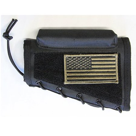 Stock Cheek Pad (Black Color Ambidextrous Cheek Rest With Stock Riser Pad and PATRIOT FLAG USA Patch Fits Winchester Model 70 XPR CZ 452 455 512 527 557 HOWA 1500 Remington.., By m1surplus from USA)