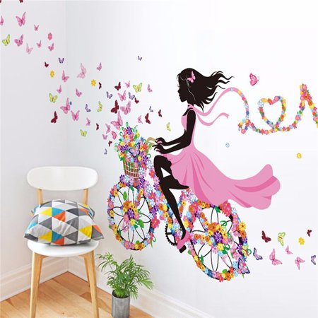 Girls Room Wall Stickers (Flower & Girl Removable Wall Art Sticker Vinyl Decal DIY Room Home Mural Decor )