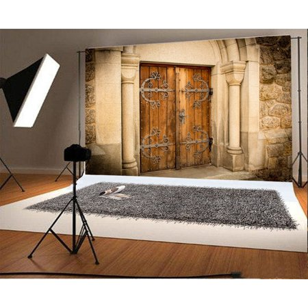 GreenDecor Polyster 7x5ft Ancient Church Wood Door Backdrop Metal Pattern Rock Stones Pillars Grunge Wall European Archiculture Nature Photography Background Kids Adults Photo Studio Props - Stone Wall Background