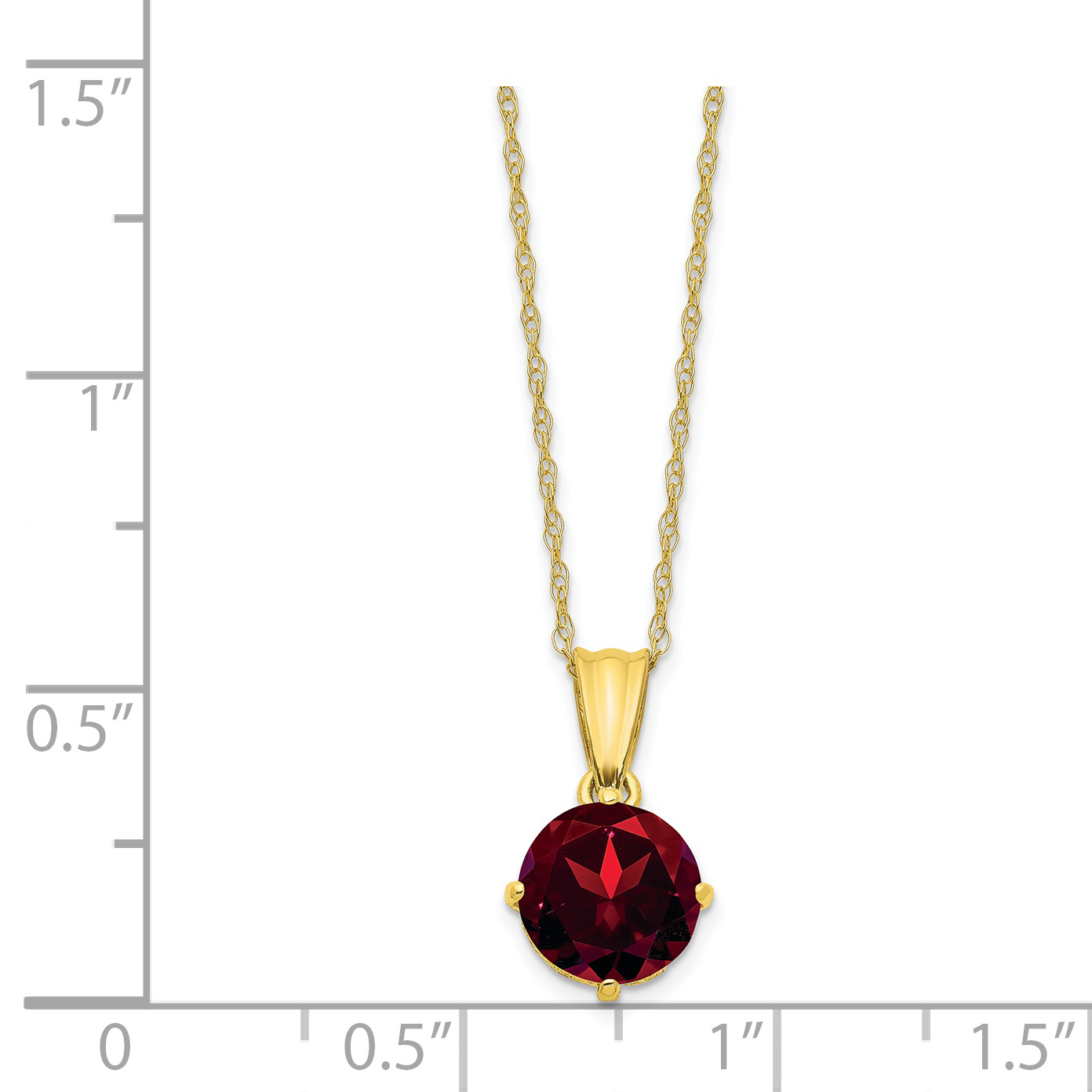 10K Yellow Gold Tiara Collection Polished Diamond Garnet Necklace 18 Inch - image 2 de 3