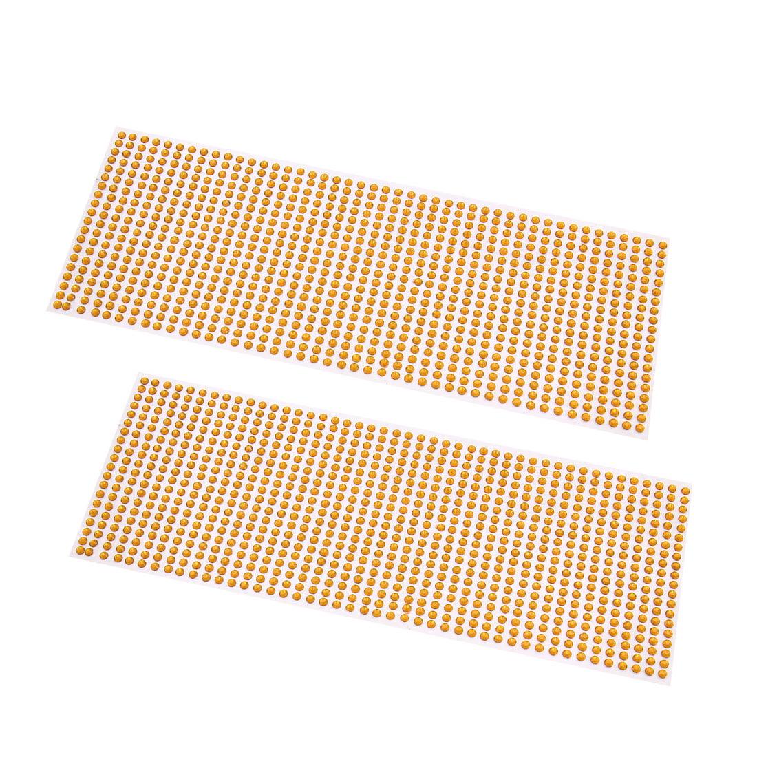 2Pcs Yellow 4mm Self Adhesive Bling Rhinestone DIY Car Phone Styling Sticker Decor Decal - image 1 de 1