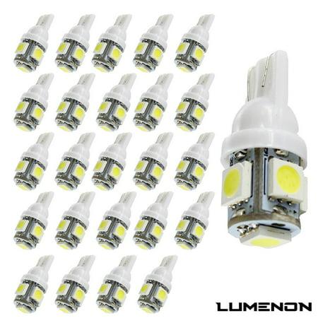 Lumenon T10 194 Led Wedge 5 Smd 50 Pcs 6K White 5050 Light Bulbs W5w 2825 158 192 168