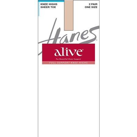 Hanes Alive Full Support Sheer Knee Highs 2-Pack - - Hanes Alive Support Control Top