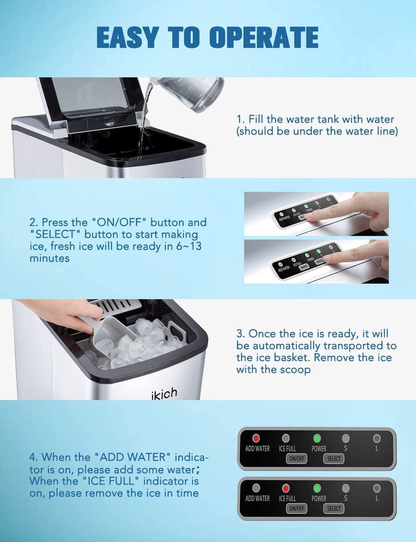 faire de 26 lb glaçons prêt dans 6 minutes environ 11.79 kg Ikich ice maker machine comptoir accueil