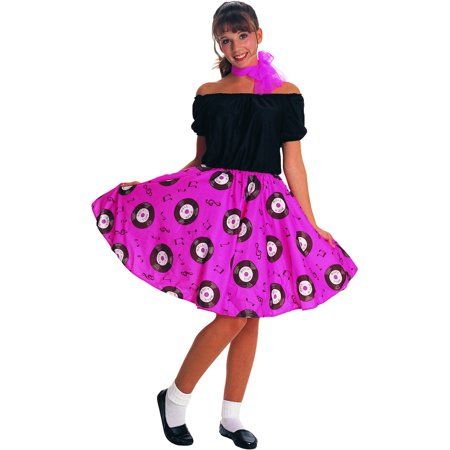 Womens Standard 50's Girl Pink Records Dress And Scarf (50's Costumes For Teenage Girls)