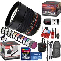 Rokinon 85mm f/1.4 AS IF UMC Lens for Pentax K with 13 Piece Creative Filter Kit, Bonus Memory Cards, Tripod, Monopod, Cleaning Kit, and a Heavy Duty Extra Padded Lens Case