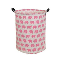 "HIYAGON Pink Laundry Basket with Strong Handles, 19.7""H x 15.7""D Collapsible & Convenient Home Organizer Containers for Kids Toys, Baby Clothing, Nursery Hamper, Home decor ( Round - Pink Elephant )"