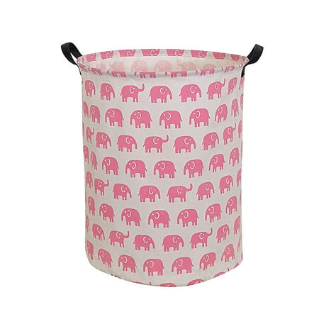 HIYAGON Pink Laundry Basket with Strong Handles, 19.7