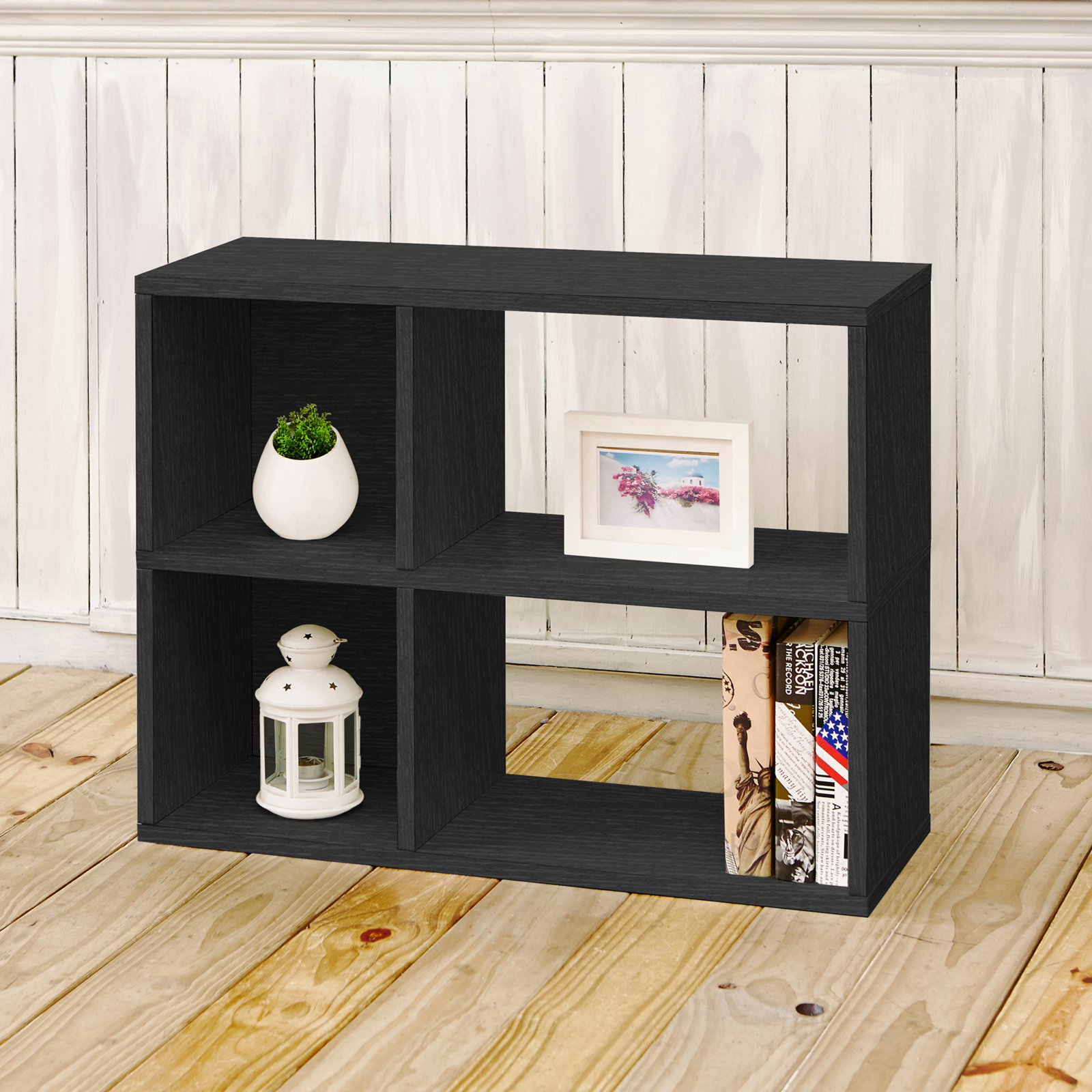 Way Basics Eco 2-Shelf Chelsea Bookcase and Cubby Storage, Black