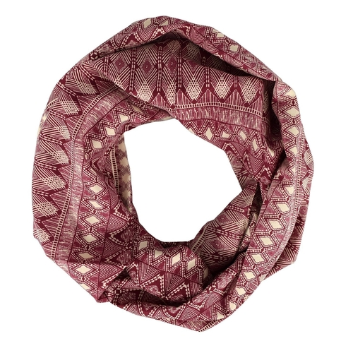 Peach Couture Tribal Aztec Print Infinity Loop Circle Scarf Maroon