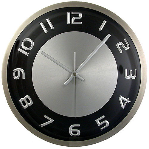 Hastings Brushed Aluminum Wall Clock by Timekeeper Products