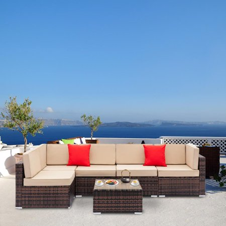 Ktaxon 6 PCS Outdoor Rattan Wicker Sofa Sectional Furniture Set Patio Garden Backyard ()