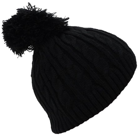 Little Girls Cable (Best Winter Hats Little Girls Tight Cable Knit Skull Cap W/Pom (One Size) - Black )