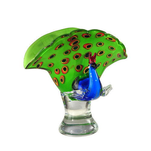 Dale Tiffany  AS12274  Accents  Peacock  Home Decor  Statues & Figurines  ;Multi-Colored Glass