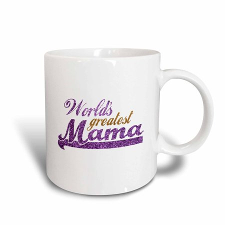 3dRose Worlds Greatest Mama - purple and gold text - Gifts for best moms - good for Mothers day - Ma - Ceramic Mug, 11-ounce - Worlds Best Mom