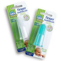 Brilliant Baby Finger Toothbrush - Silicone Gum Massager and Teether Brush for Babies and Toddlers -Green/Clear, 2 Count