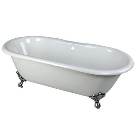 66 in. Cast Iron Double Ended Clawfoot Bathtub with Chrome Feet and 7 in. Centers Faucet Drillings, White