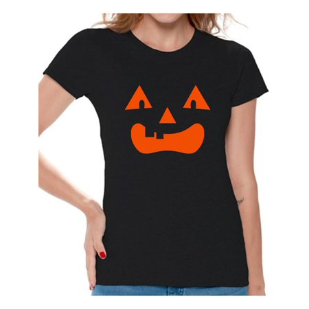 Awkward Styles Jack O'Lantern Pumpkin Shirts for Women Halloween Pumpkin Graphic T-Shirt for Ladies Spooky Orange Pumpkin Tee Fun and Easy Halloween Costume for Women (Fun And Easy Halloween Costume Ideas)