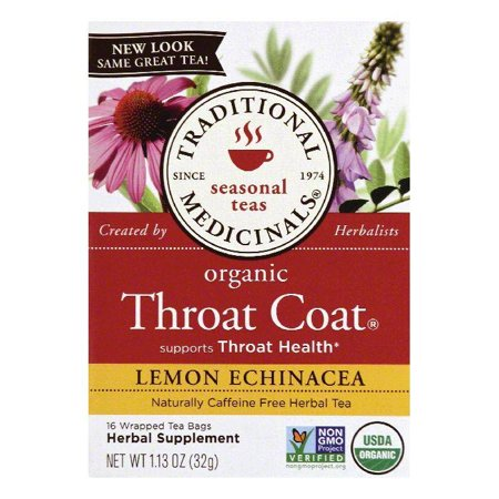 Traditional Medicinals Wrapped Tea Bags Lemon Echinacea Organic Throat Coat Herbal Tea, 16 ea (Pack of (Echinacea Elderberry Tea 20 Bags)