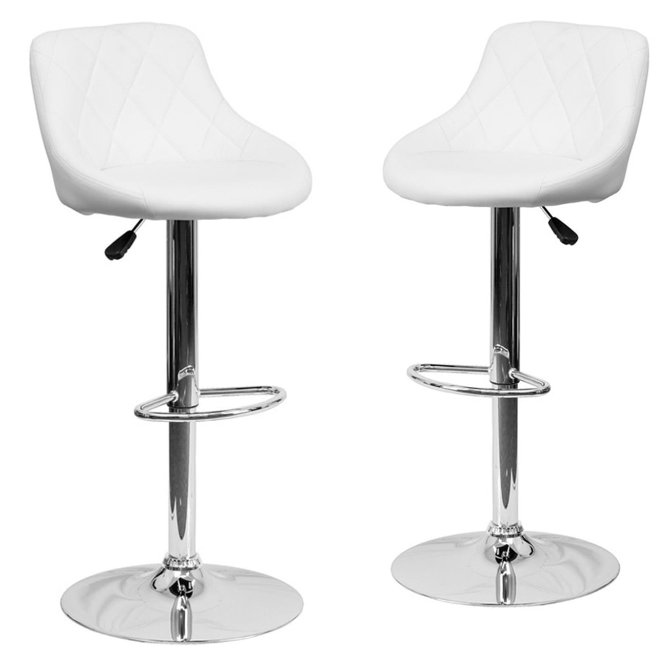Brilliant Belleze Set Of 2 Modern Adjustable Bar Stool Bucket Seat Swivel Footrest White Pdpeps Interior Chair Design Pdpepsorg
