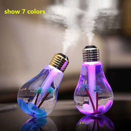 Live Direct 1 pcs USB Mini 400ml Colorful Bulb humidifier Air Purifier Atomizer with colorful Night Light for Household Office Bedroom Car](Bulk Night Lights)
