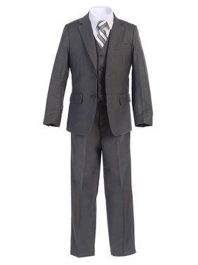 Boltini Italy Kids Formal Boys Suit Set - 5PC- Jacket, Shirt, Tie, Vest, Pants (Charcoal, 5)