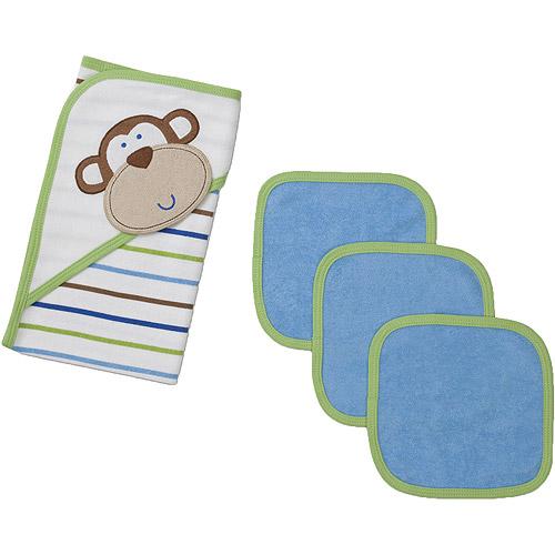 Gerber Newborn Boys' 4 Piece Hooded Towel and Washcloth Set