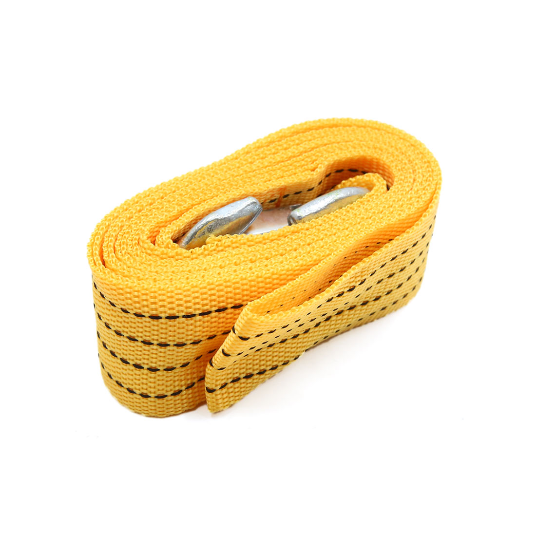 3 Ton 9.8Ft Length Yellow Car Tow Cable Emergency Towing Strap Rope w 2 Hooks