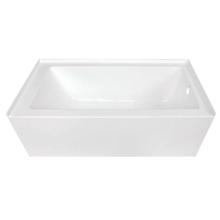 "Aqua Eden 60"" Acrylic Alcove Bathtub with Right Hand Drain and Overflow Hole, White"