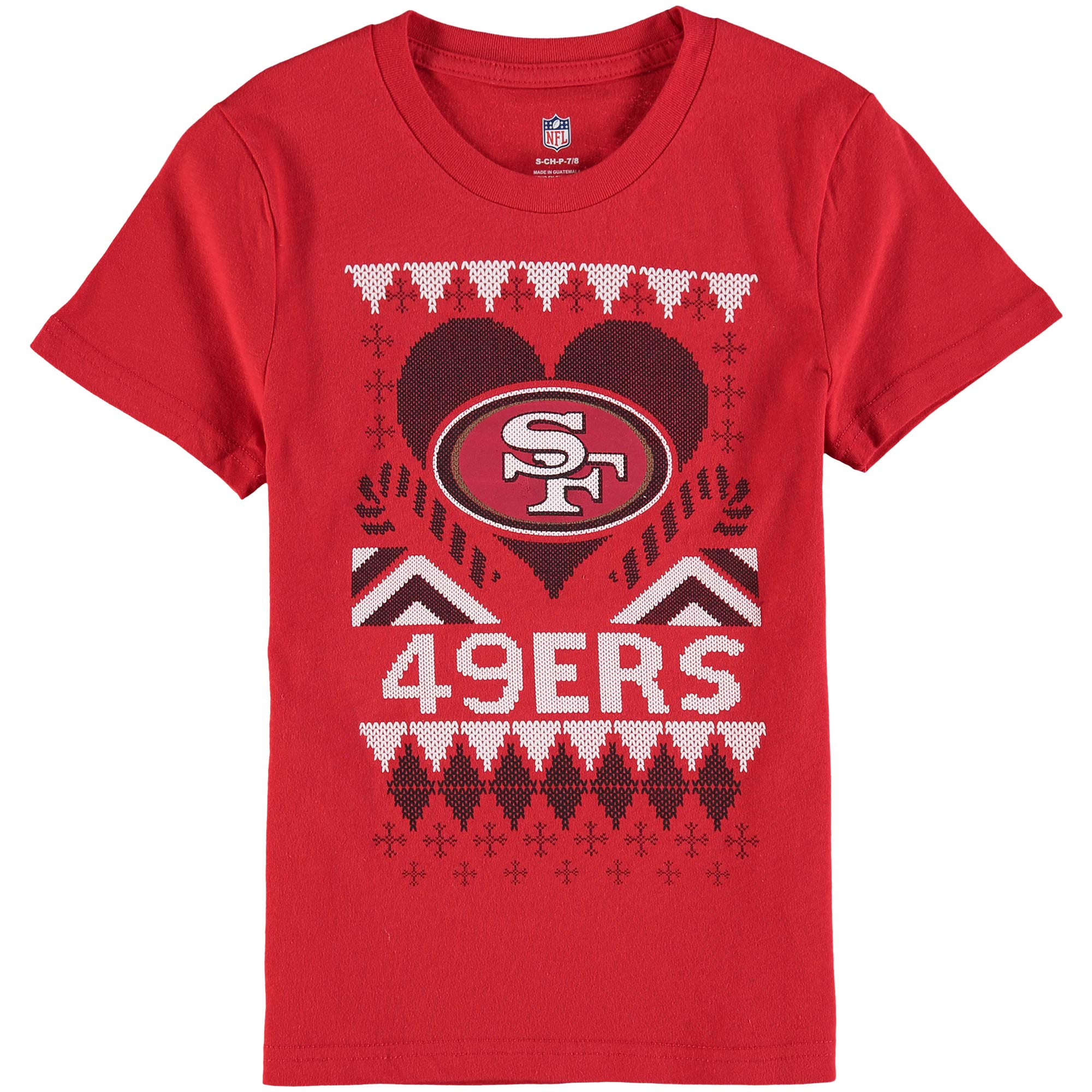 San Francisco 49ers Girl's Youth Candy Cane Love T-Shirt - Scarlet