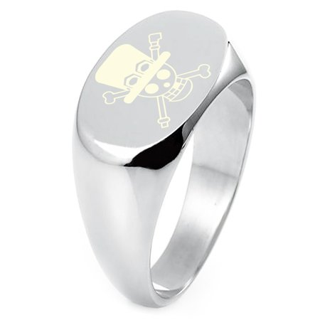 Sterling Silver One Piece Sabo Pirate Skull Flag Engraved Oval Flat Top Polished Ring