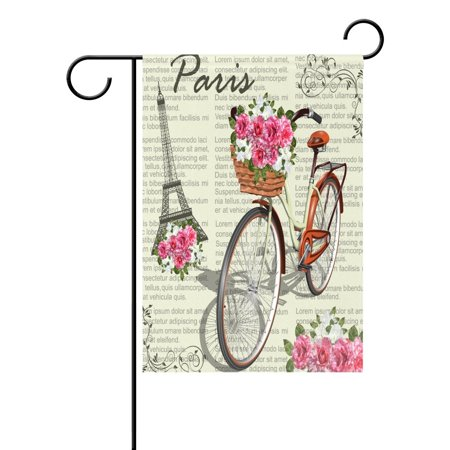 POPCreation Newspaper Bicycle Paris Eiffel Tower Garden Flag Flower Outdoor Flag Home Party 28x40 inches ()