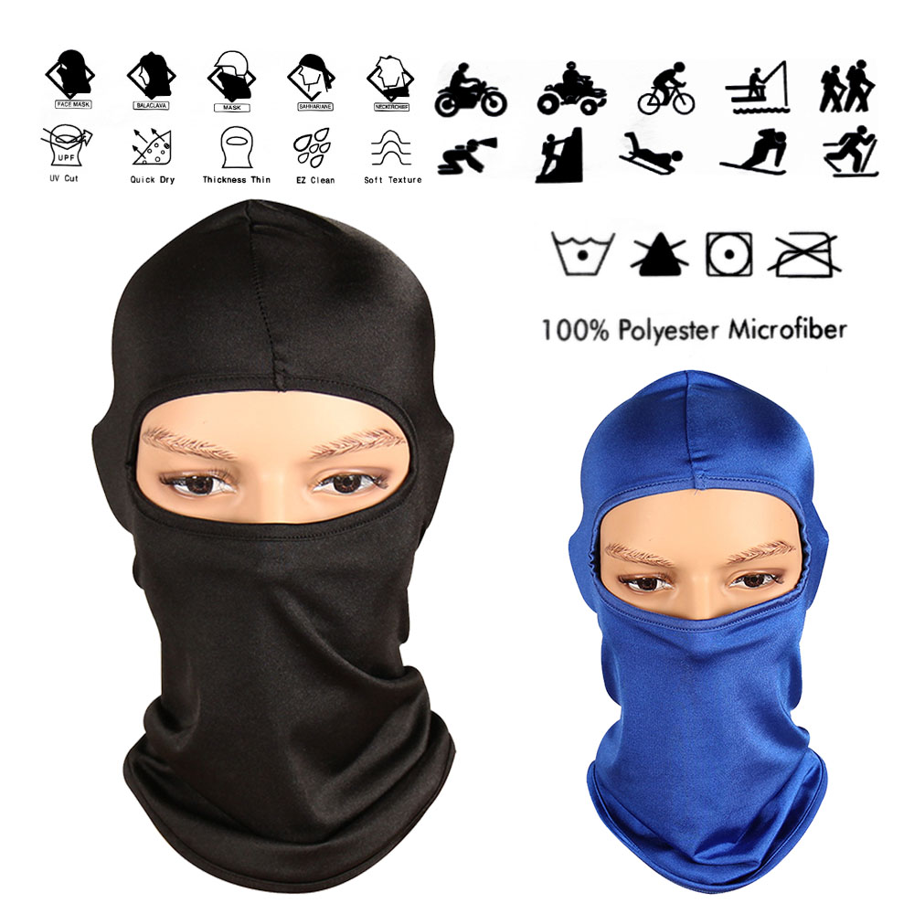 Reactionnx 2 Pack Outdoor Bike Motorcycle Helmet Neck Winter Hat Wind-Resistence Face Mask Full Face for Ski/Driving/out Door Sport Unisex Black Blue