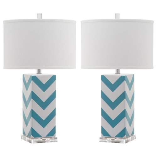 Safavieh LIT4136 Chevron 2 Light Accent Table Lamp with Cylinder Cotton Shade (S