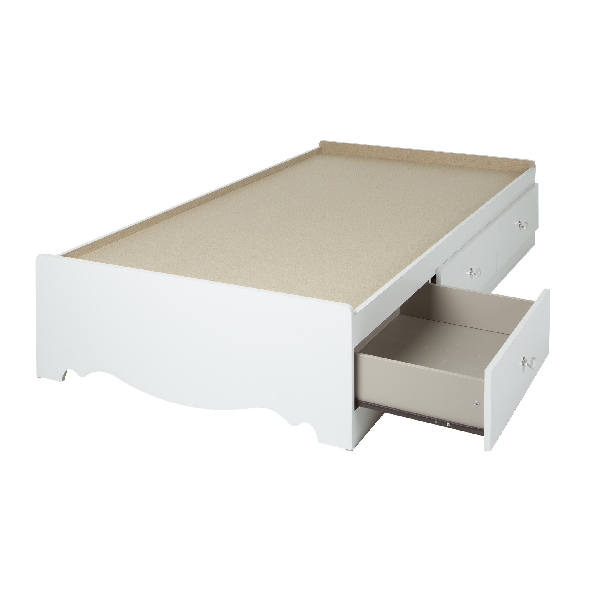 Crystal Mates Bed With 3 Drawers Twin Size White Walmart Com Walmart Com