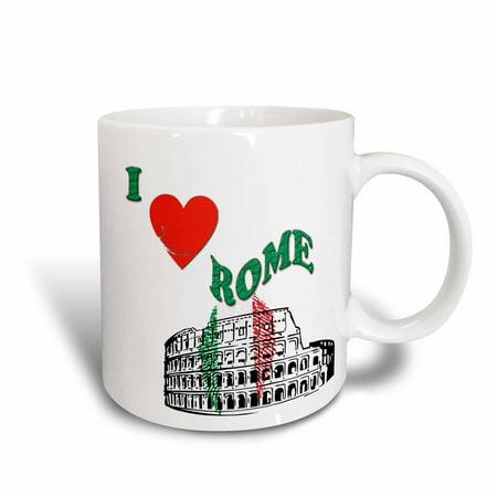 3dRose I love Rome. Colosseum in Rome. Italian flag. Popular saying, Ceramic Mug, 11-ounce