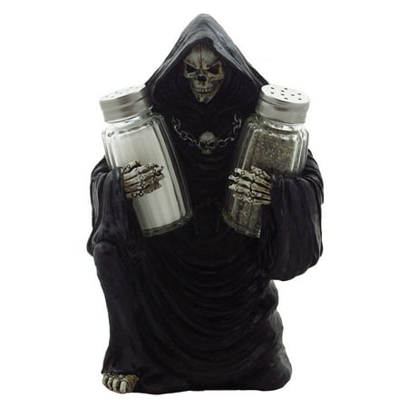 Scary Grim Reaper Salt and Pepper Shaker Set Figurine Holder Kitchen Table Halloween Decoration or Gothic Decor by Home 'n Gifts