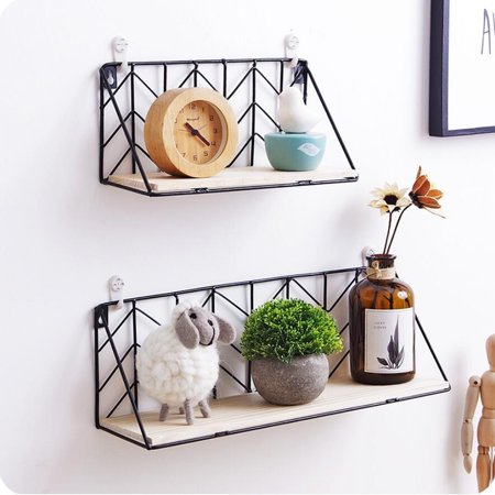 1 PC Wall Floating Wire Shelves Wall Mounted Rack Wood Storage Shelf Bookshelf for Bedroom Living Room Bathroom Kitchen Office S/L Size 1 Mounting Shelf